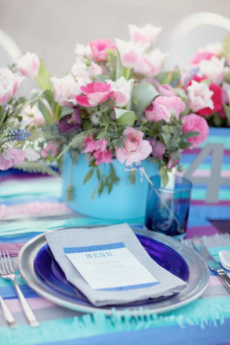 Modern Cobalt Blue & Plum Wedding Inspiration via TheELD.com