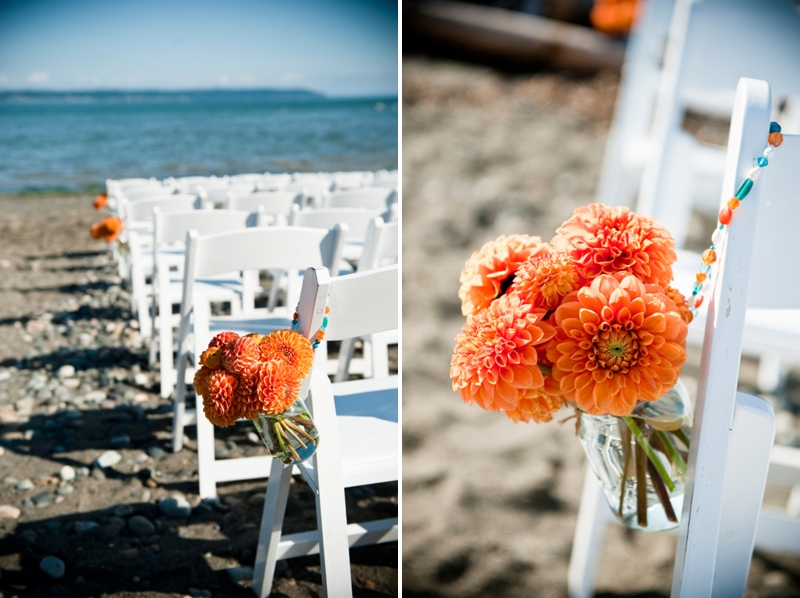 Modern Orange & Turquoise Beach Wedding via TheELD.com
