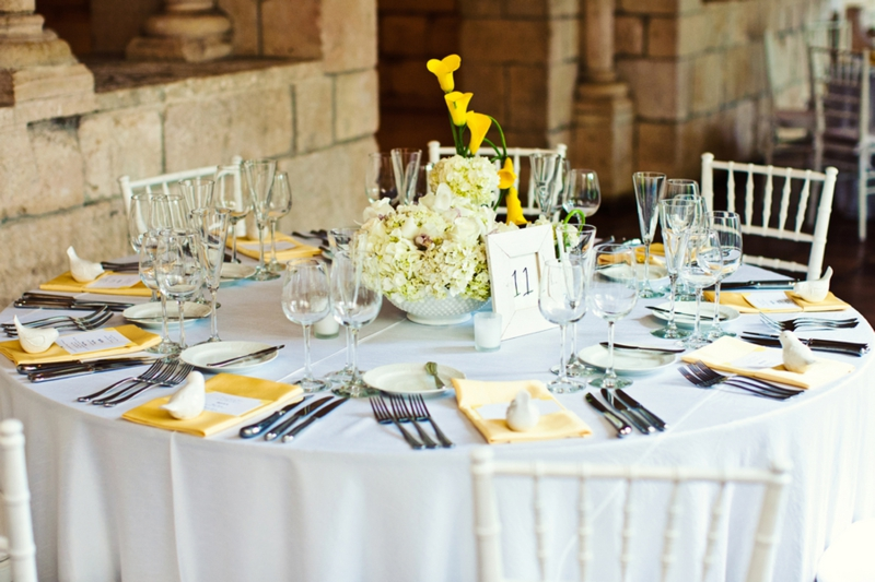 Vintage Yellow & White Spanish Monastery Wedding via TheELD.com