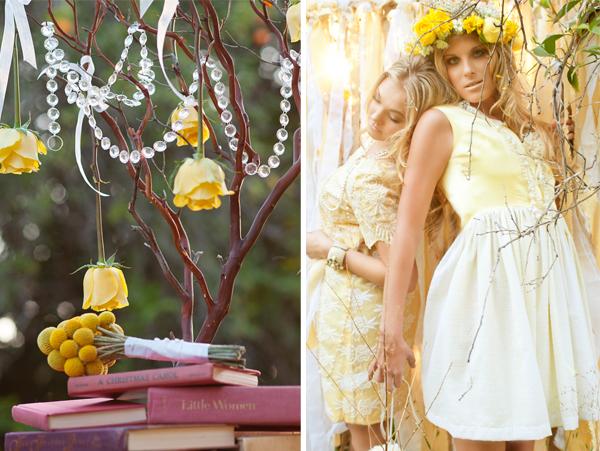 Whimsical Yellow Bridesmaid Inspiration via TheELD.com