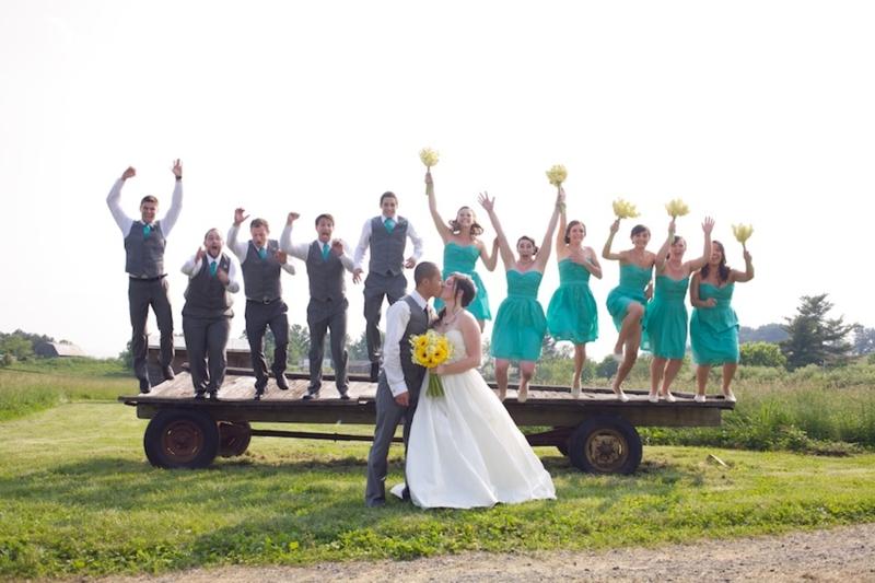 Yellow & Aqua Eclectic Farm Wedding  via TheELD.com