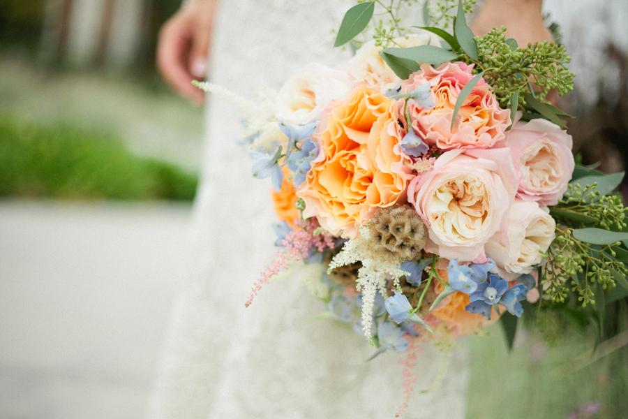 Handcrafted Mint and Peach California Wedding via TheELD.com