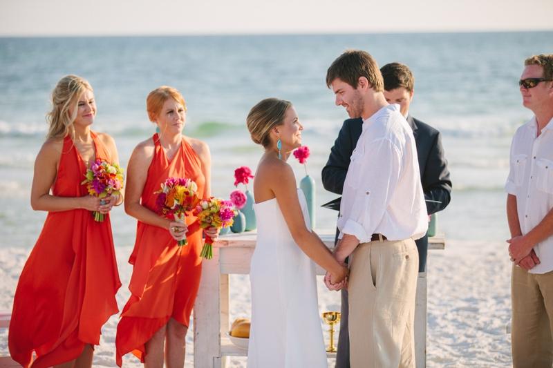 Pink, Orange, & Aqua Florida Wedding via TheELD.com
