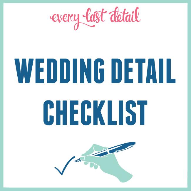 Wedding Detail Checklist via TheELD.com