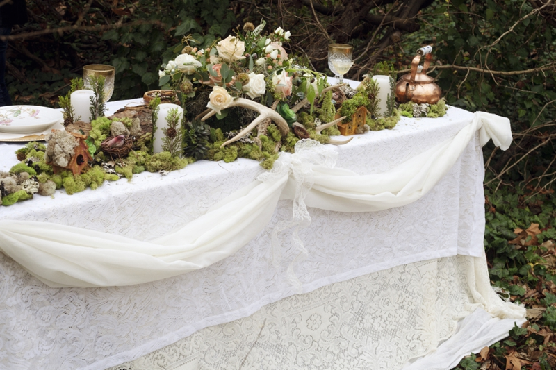 Romantic Nature Inspired Snow White Wedding Inspiration via TheELD.com