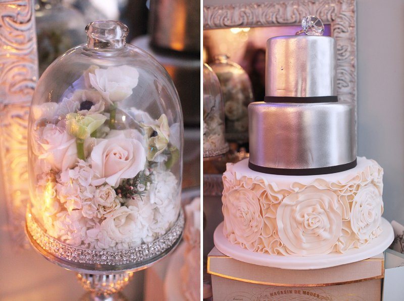 A Glamorous Pink, White, & Silver Engagement Party via TheELD.com