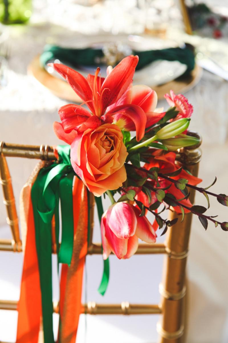 Chic Emerald and Orange Wedding Inspiration via TheELD.com