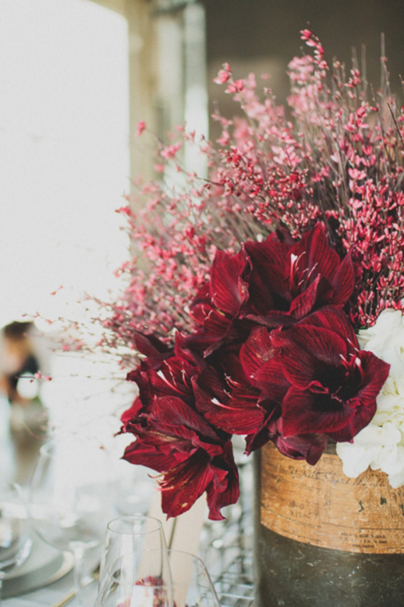 Modern Red Industrial Wedding Inspiration via TheELD.com