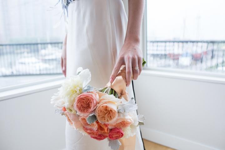 Modern Nautical Peach and Gray Wedding Inspiration via TheELD.com