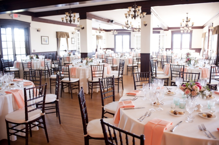 Modern Elegant Peach and Navy Maine Wedding via TheELD.com