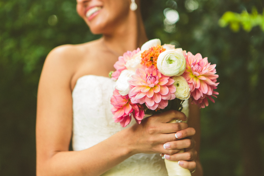 Romantic Coral & Navy Botanical Garden Wedding via TheELD.com