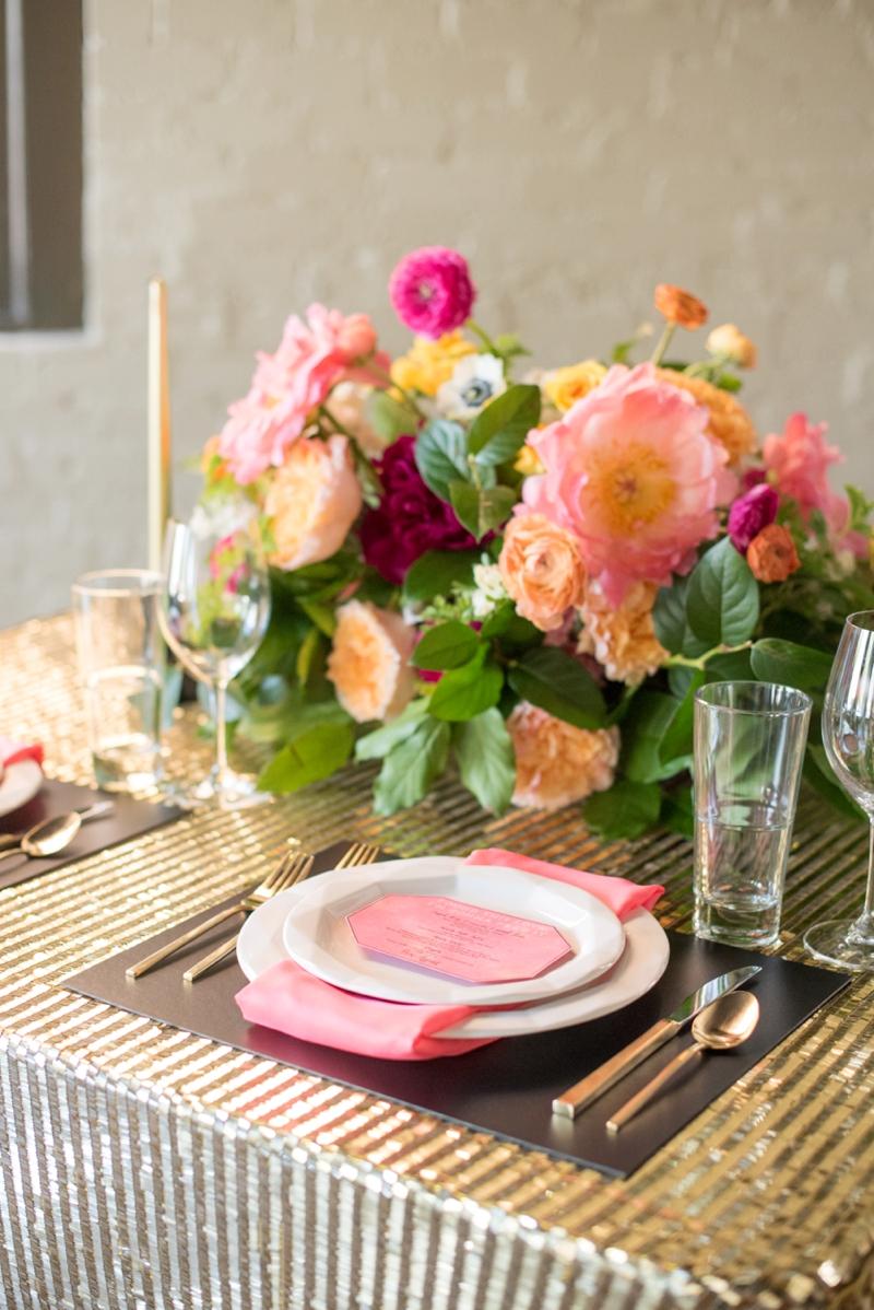 Chic Modern Pink and Orange Wedding Ideas via TheELD.com