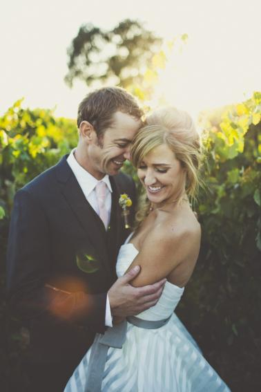 Eclectic Blush and Gold Vineyard Wedding via TheELD.com