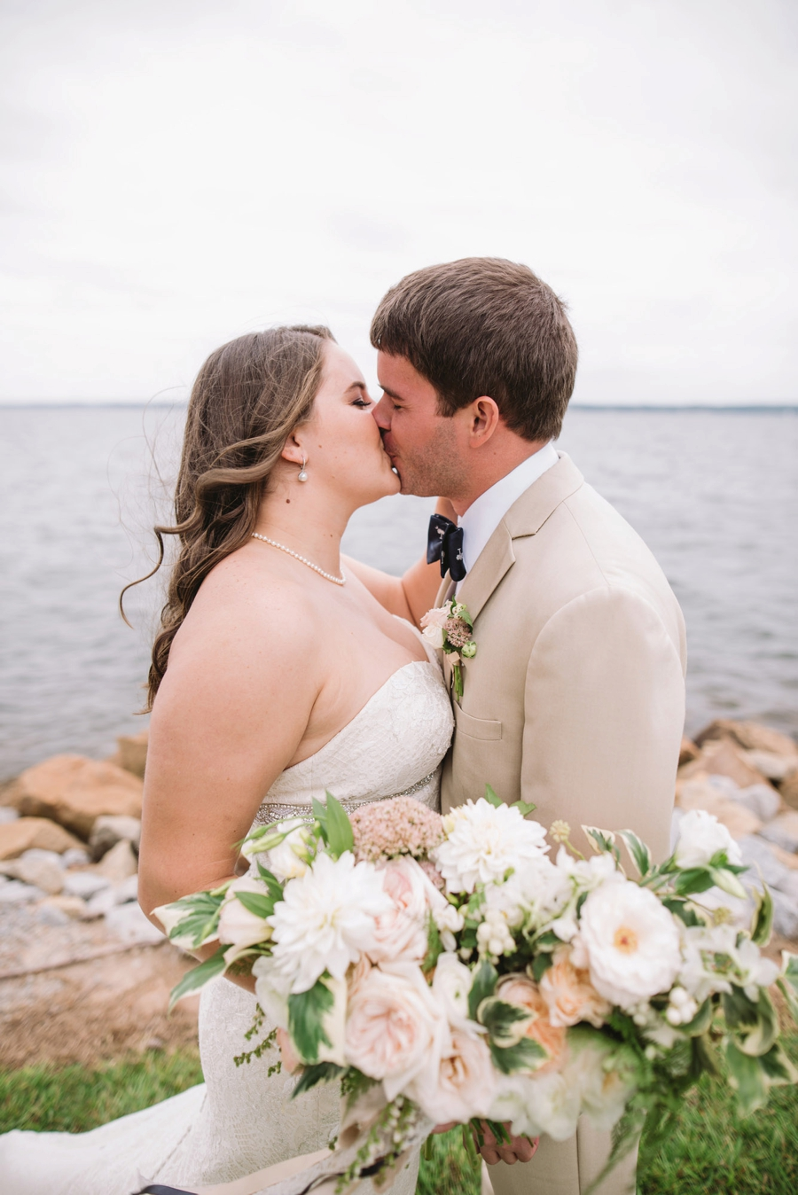 Romantic Lakeside Navy and Blush Wedding via TheELD.com