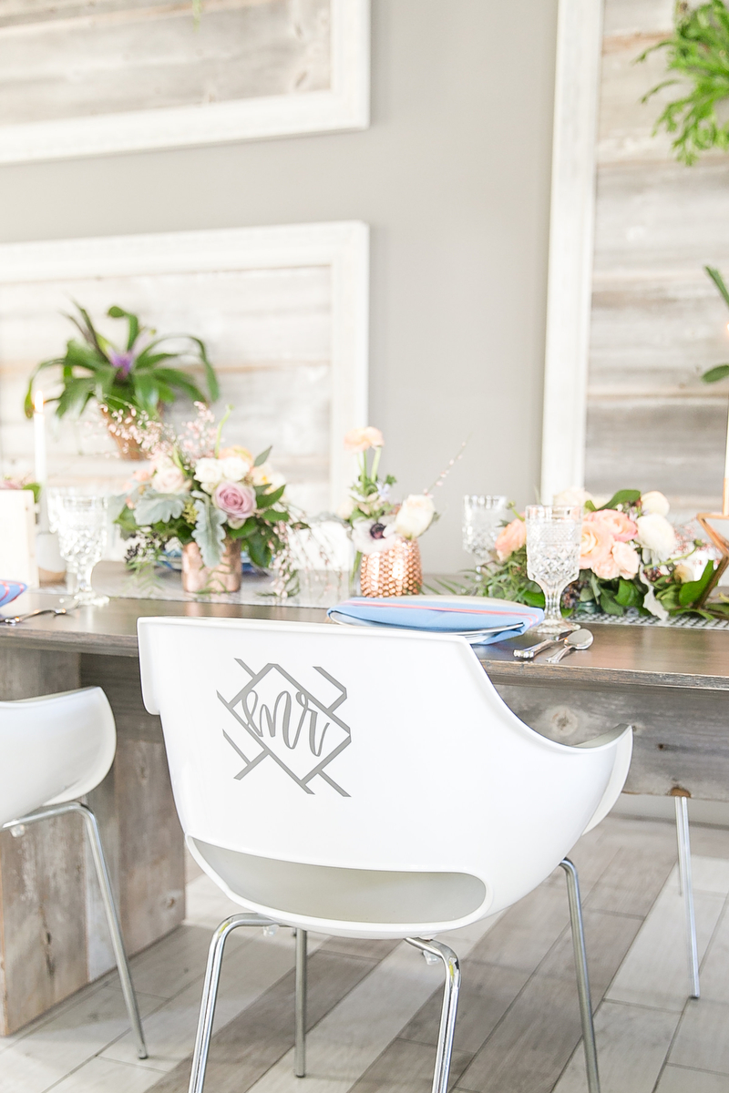 Modern Blush, Blue & Rose Gold Wedding Inspiration via TheELD.com