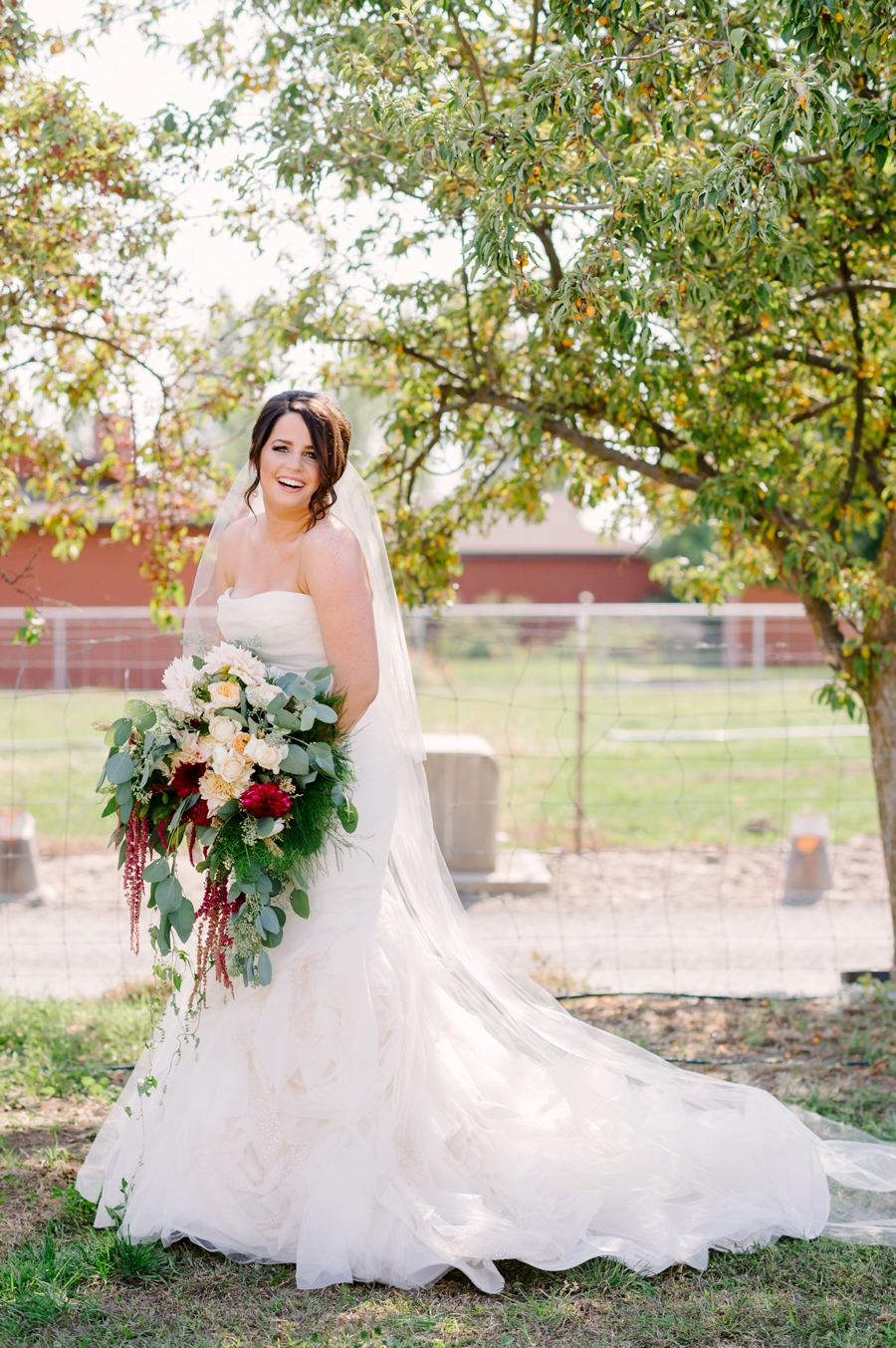 Elegant Blush & Red Farm Wedding via TheELD.com
