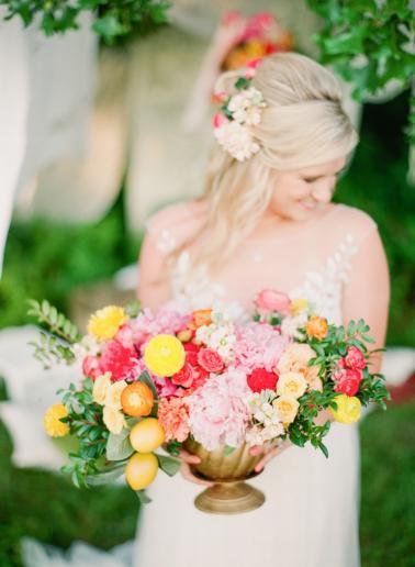 Colorful Chic Pink and Yellow Wedding Inspiration via TheELD.com