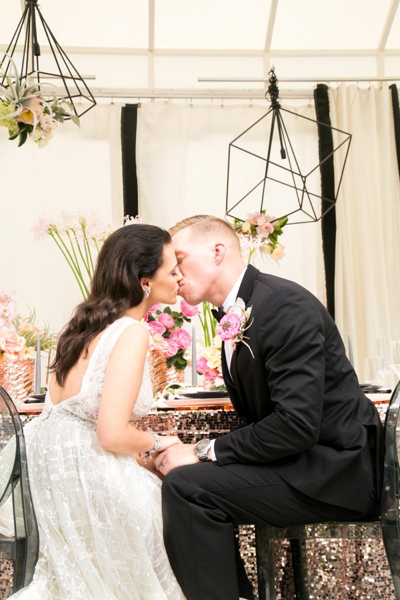 Modern Glam Black & Rose Gold Wedding Ideas via TheELD.com