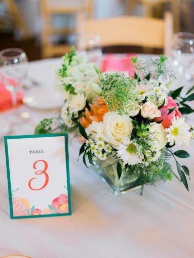 Yellow and Coral North Carolina Garden Wedding via TheELD.com