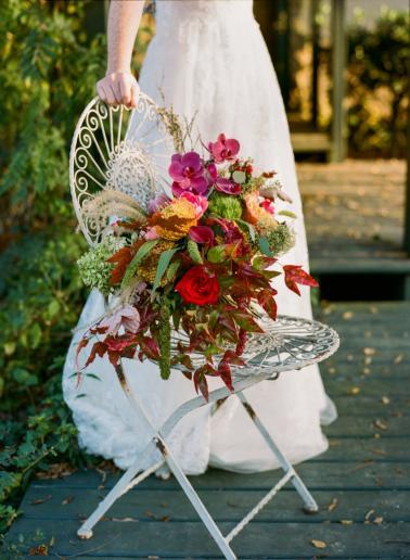 Eclectic Pink & Orange Fall Wedding Ideas via TheELD.com