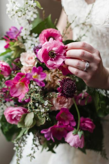 Pink & Green Romantic Urban Wedding Ideas via TheELD.com
