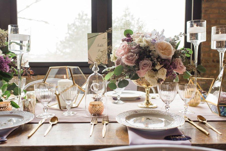 Lavender, Grey, & White Spring Inspired Geometric Wedding Ideas via TheELD.com