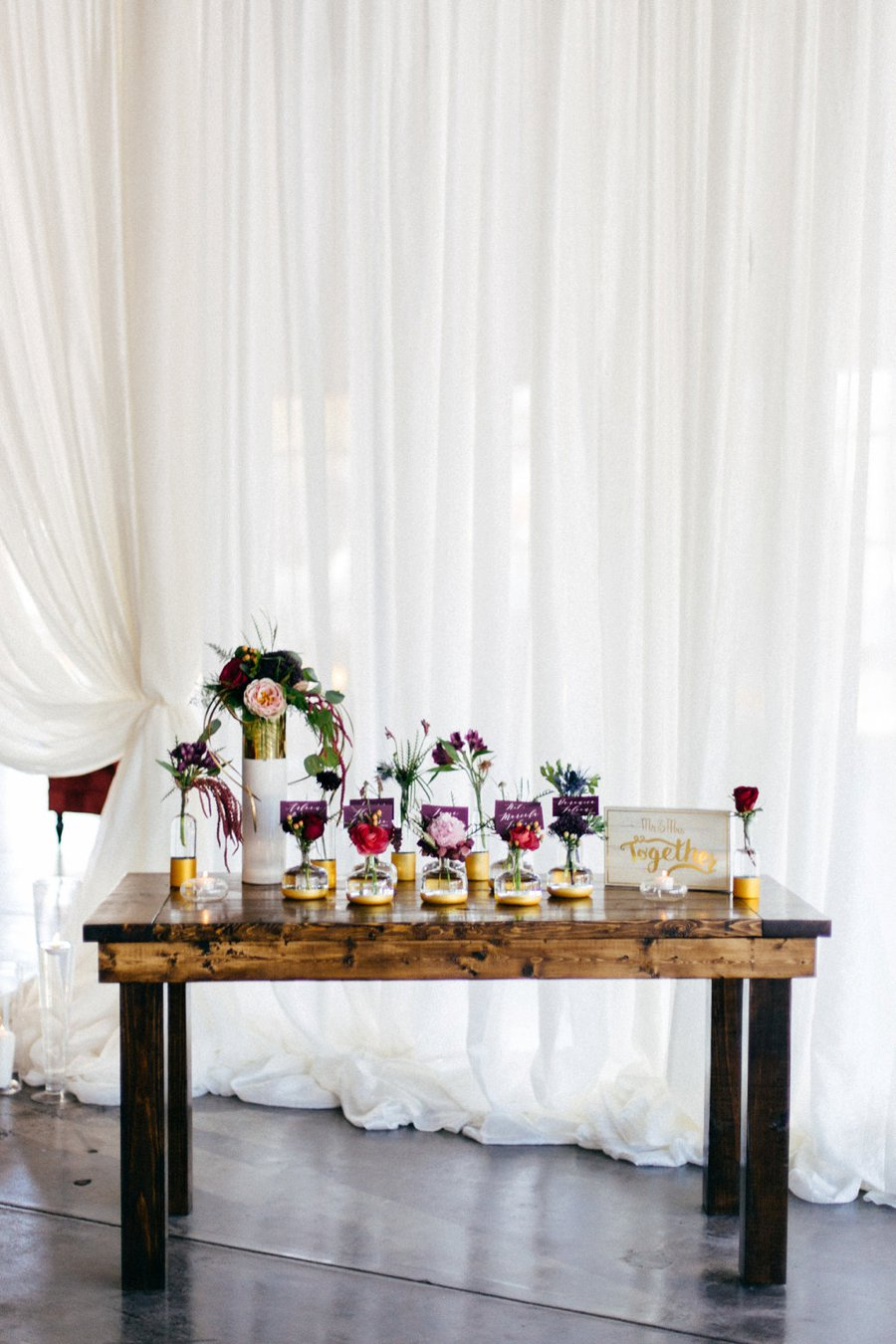 Romantic Pink & Red Industrial Wedding Ideas via TheELD.com