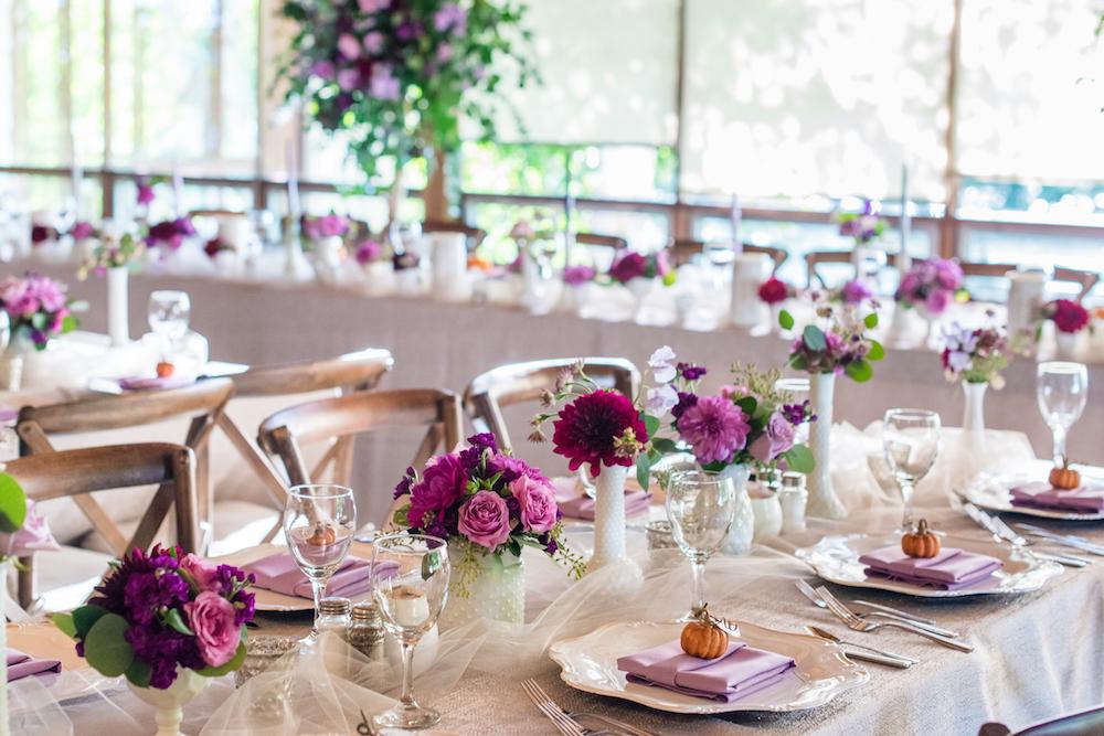 A Purple and Green Rustic Canadian Fall Wedding via TheELD.com