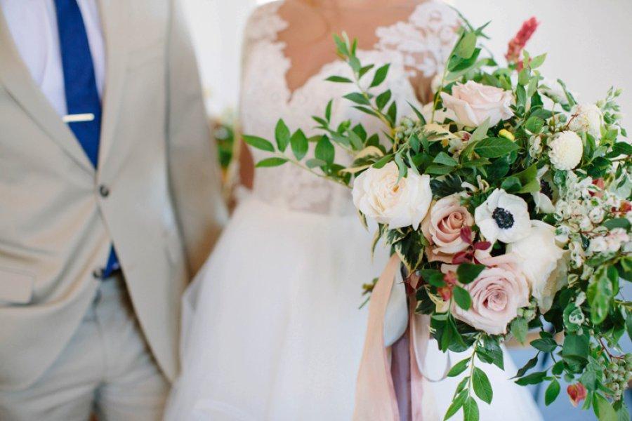 Elegant Floral Blue & Peach Wedding Ideas via TheELD.com