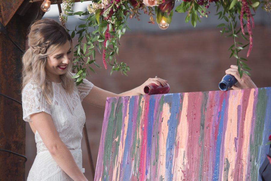 Moody Burgundy & Black Industrial Wedding Ideas via TheELD.com