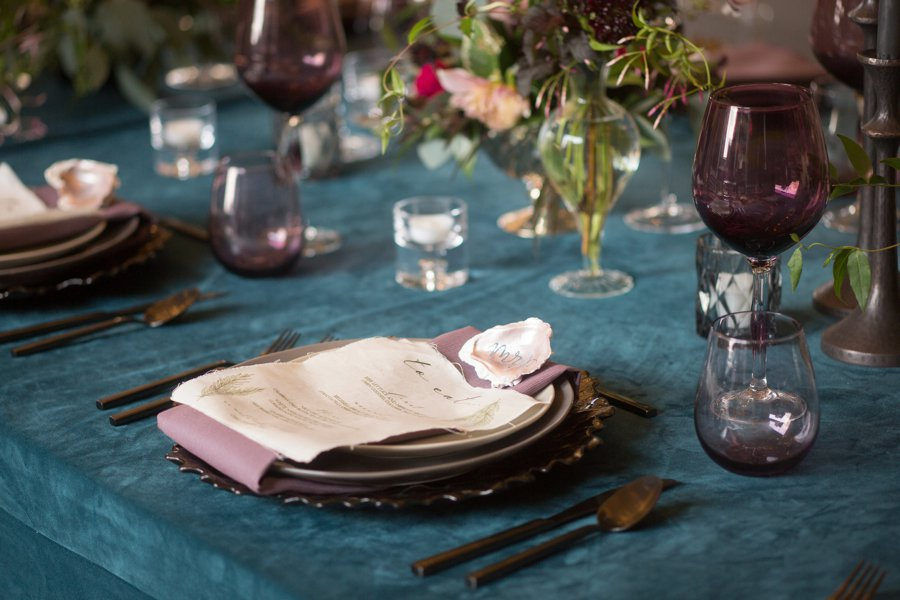 Modern Elegant Jewel toned Wedding Inspiration via TheELD.com
