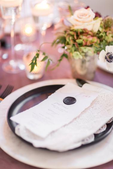 Modern Romantic Black & Mauve Valentines Day Wedding Ideas via TheELD.com