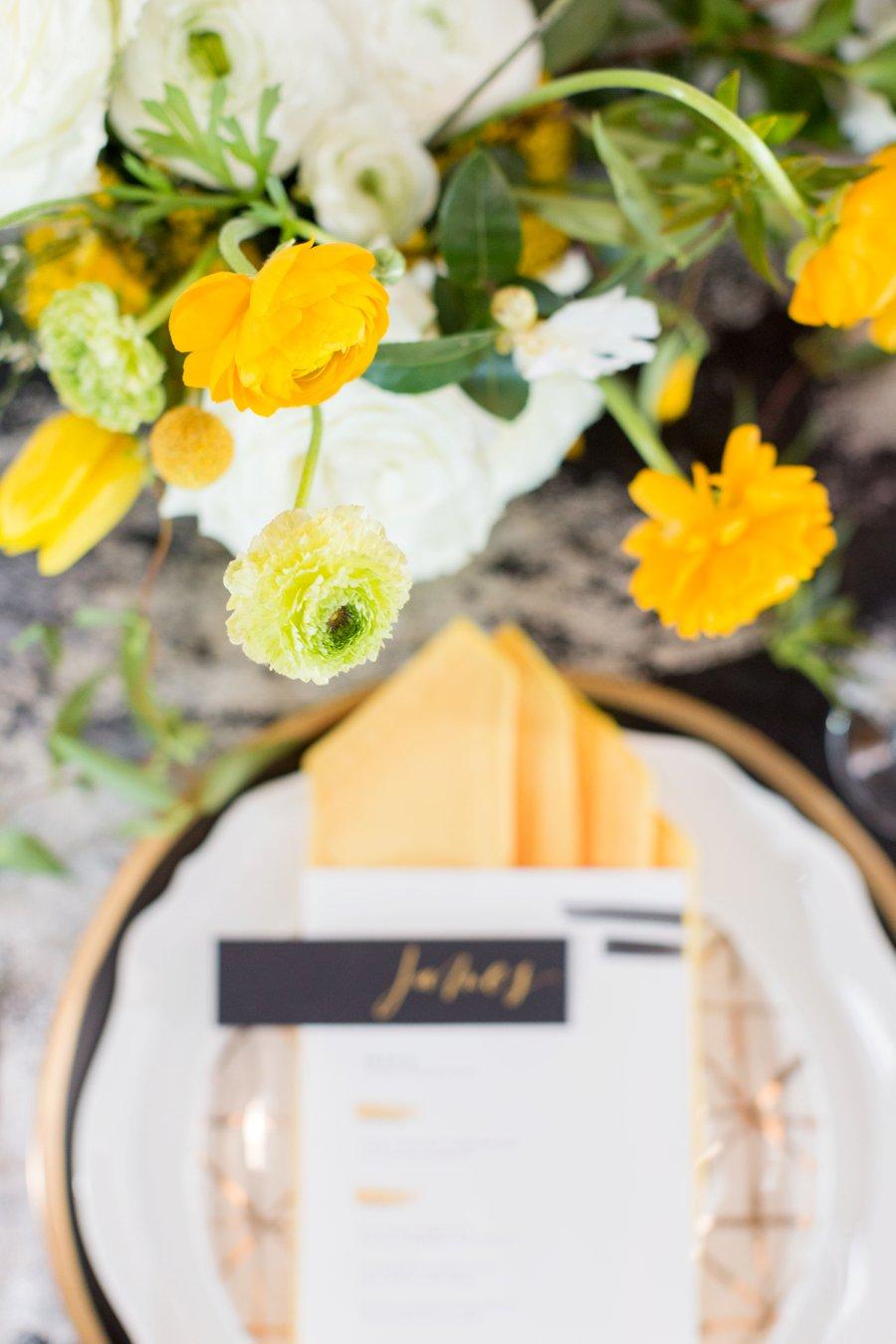 Black & Yellow Modern Minimalist Wedding Ideas via TheELD.com
