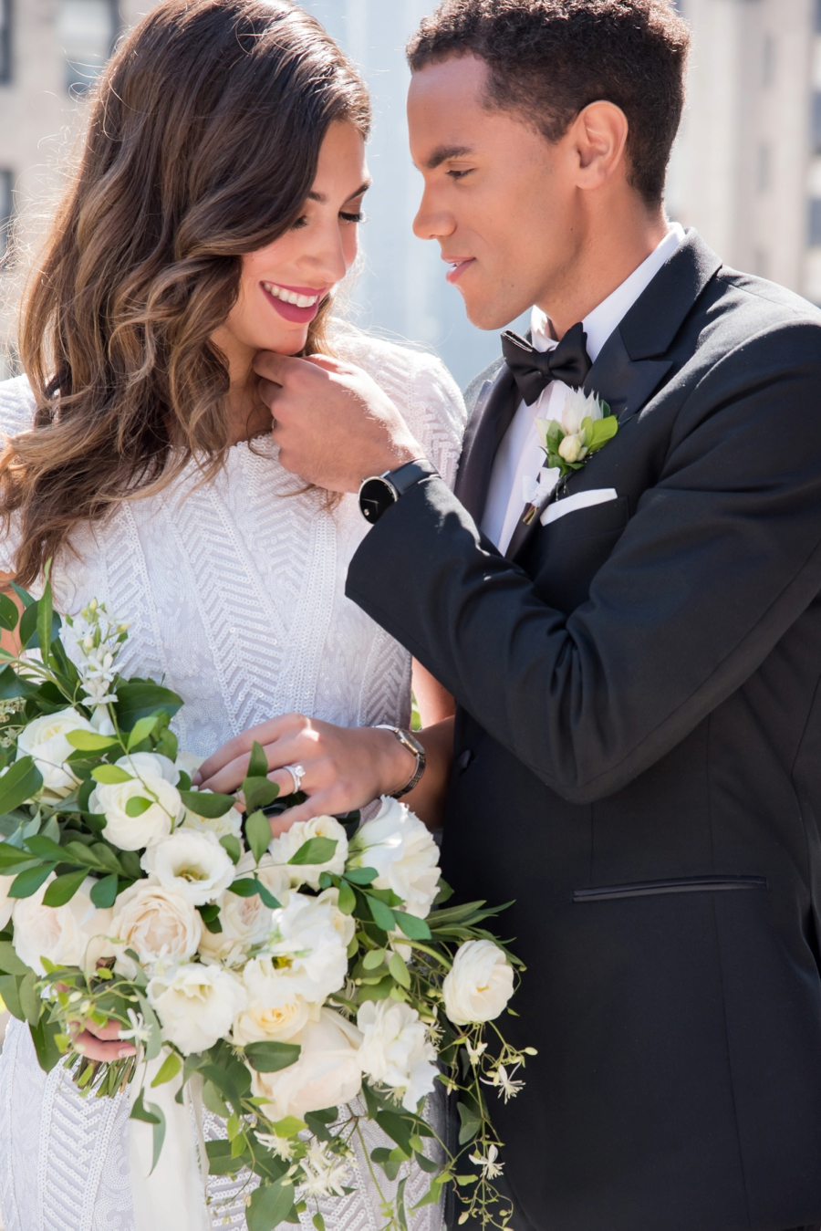 Modern Rooftop Elopement Inspiration With Chic Wedding Day Gift Ideas via TheELD.com