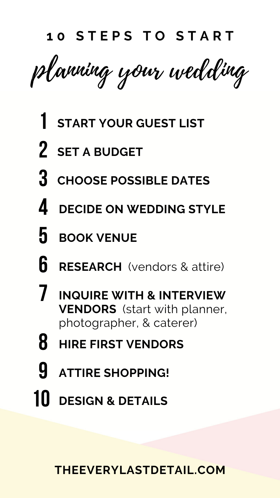 Newly Engaged? 10 Steps To Start Planning Your Wedding! via TheELD.com