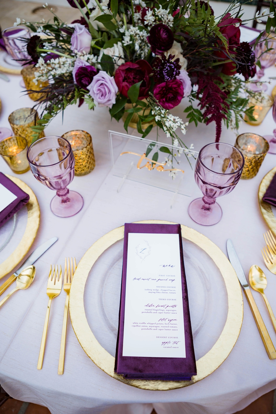 Lavender and Red Southern California Wedding Inspiration via TheELD.com