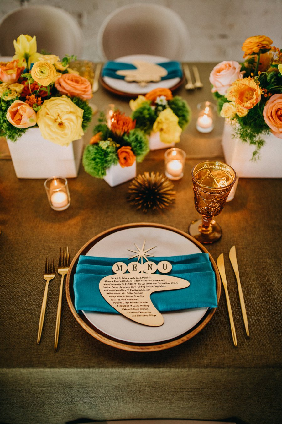 Mid Century Teal & Orange Wedding Ideas via TheELD.com