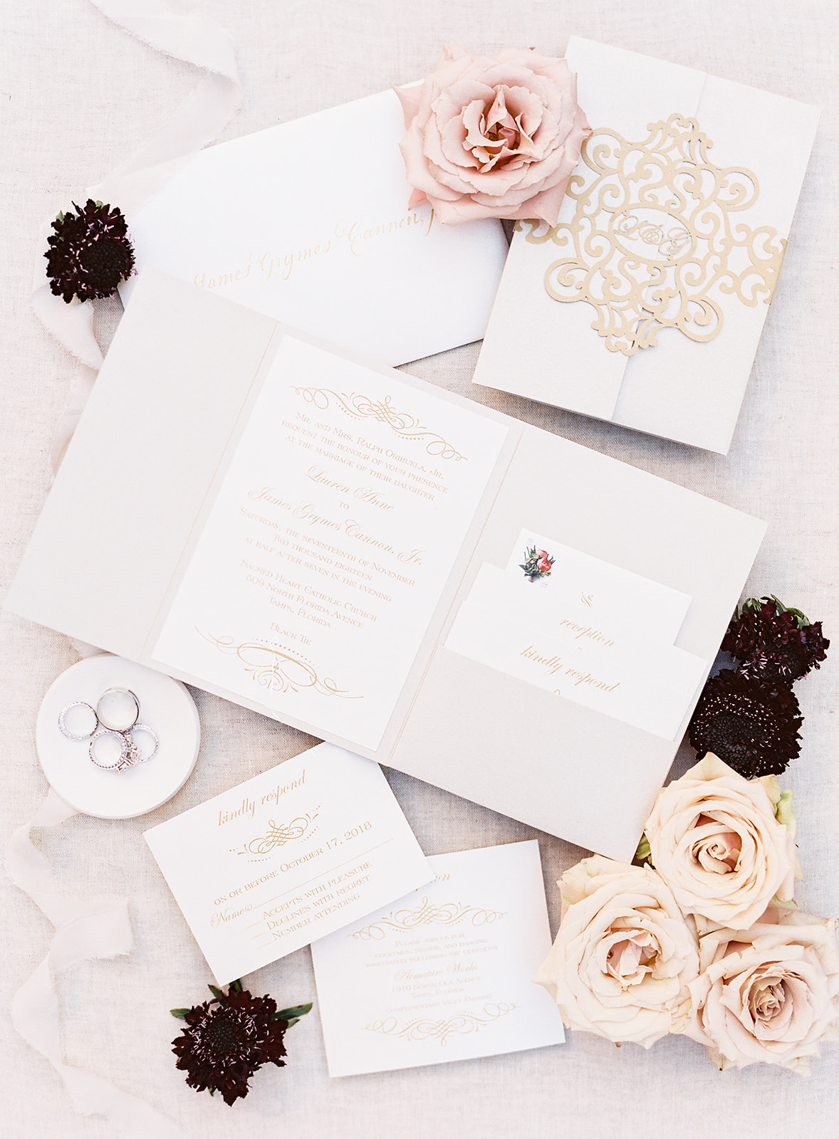 Glamorous Blush & Red Tampa Wedding via TheELD.com